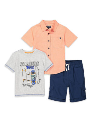 Freestyle Boys Polo Shirt, Shark T-Shirt & Pull On Shorts, 3-Piece Outfit Set, Sizes 4-7